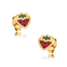 Šperky eshop - Zlaté puzetové náušnice 375 - plochá červeno-zelená jahoda 566aa829880