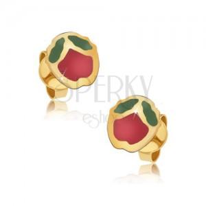 Náušnice zo žltého 9K zlata - ligotavé červeno-zelené glazúrované jabĺčka