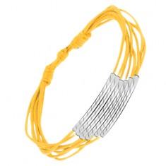 Šperky eshop - Žltý šnúrkový multináramok, valčeky s diagonálnymi ryhami S11.11