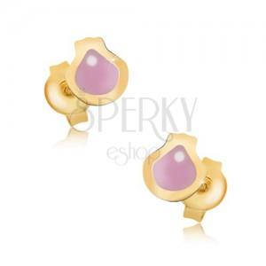 Zlaté náušnice 375 - plochá glazúrovaná mušľa ružovej farby