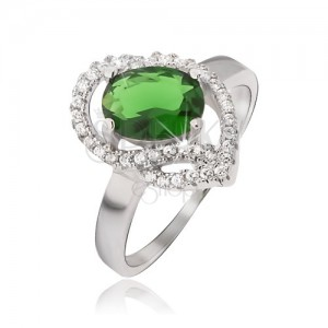 Strieborný prsteň 925, oválny zelený kamienok, zirkónové oblúky