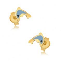 Šperky eshop - Zlaté náušnice 375 - glazúrovaný modrý delfín, lesklý hladký povrch GG03.36
