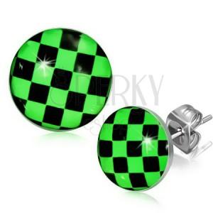 Náušnice z ocele, zeleno-čierna šachovnica