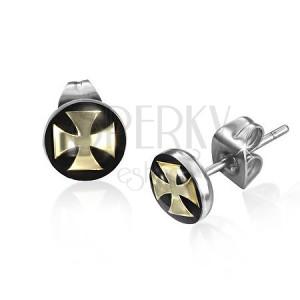 Puzetové náušnice z ocele, maltézsky kríž zlatej farby