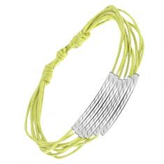 Šperky eshop - Multináramok, svetlozelené šnúrky, ryhované valčeky S10.17