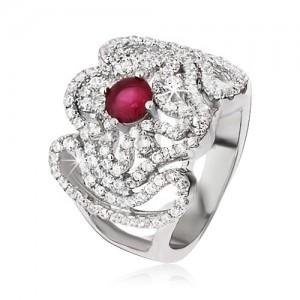 Strieborný prsteň 925, zirkónový kríž, zvlnené línie a ružovočervený kamienok