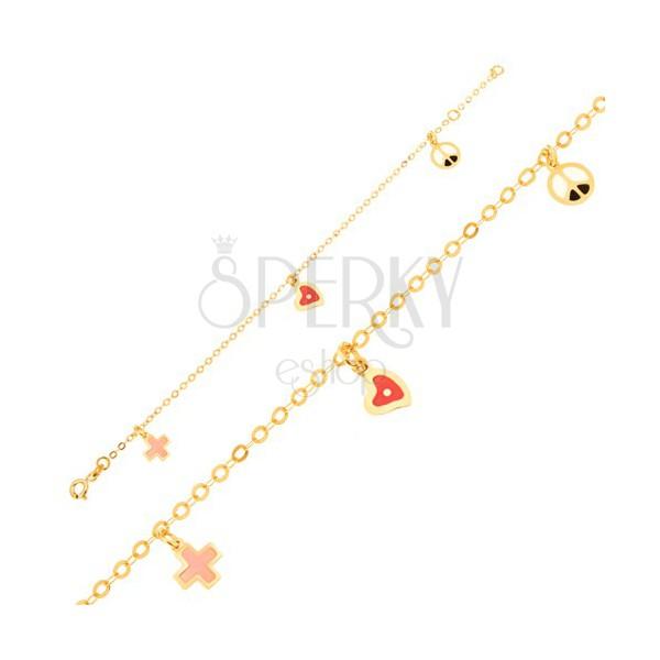 db9e70e21 Zlatý náramok 375 - retiazka, glazúrované srdce, kríž a symbol mieru ...