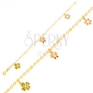 Zlatý náramok 375 - glazúrovaný štvorlístok, motýľ, kvietok, lesklá retiazka