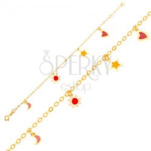 Zlatý náramok 375 na ruku, mesiac, kvietok, hviezda, srdce, lesklá retiazka