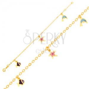 Náramok v žltom 9K zlate - glazúrovaný delfín, hviezdica, rybka, lesklá retiazka