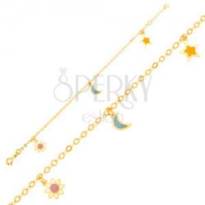 Zlatý náramok 375 - retiazka, emailový bielo-ružový kvietok, mesiac, hviezda