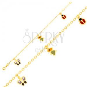 Zlatý náramok 375 - ligotavá retiazka, emailový motýľ, vtáčik a lienka