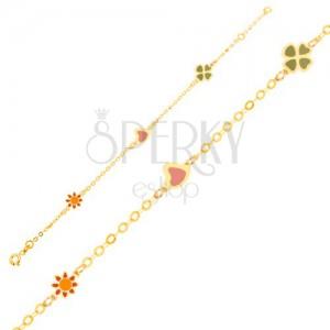Náramok zo žltého 9K zlata - glazúrovaný kvietok, srdce a štvorlístok, retiazka