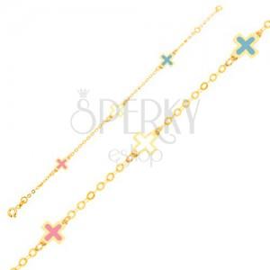 Zlatý náramok 375 - lesklé emailové farebné krížiky, tenká retiazka