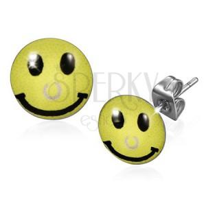 Náušnice z chirurgickej ocele, žltý smajlík s piercingom