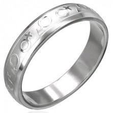 Oceľový prsteň znak muža a ženy