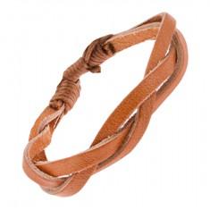 Šperky eshop - Karamelovohnedý zapletaný kožený remienok na ruku P08.13