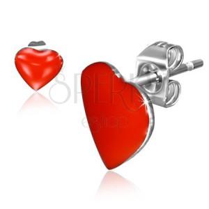 Puzetové náušnice z ocele, červené symetrické srdcia