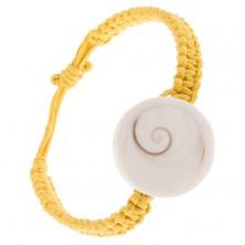 Šnúrkový remienok žltej farby, okrúhla imitácia lastúry