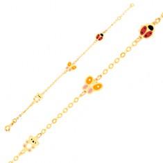 Šperky eshop - Zlatý náramok 375 na ruku, glazúrovaný medvedík, motýľ, lienka, lesklá retiazka GG01.40