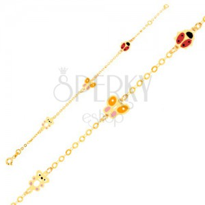 Zlatý náramok 375 na ruku, glazúrovaný medvedík, motýľ, lienka, lesklá retiazka