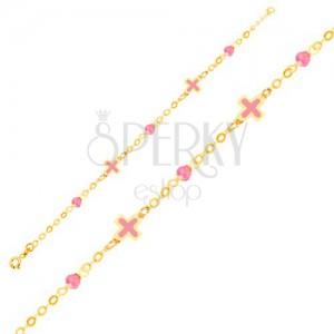 Zlatý náramok 375 na ruku - ružové emailové krížiky, sklenené guľôčky, retiazka