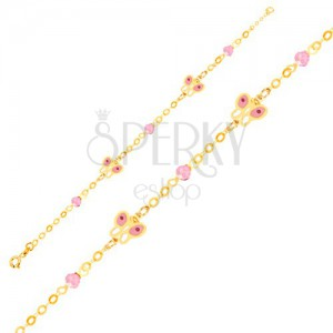 Zlatý náramok 375 - lesklá retiazka, glazúrované motýle, sklenené guličky