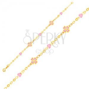 Zlatý náramok 375 na ruku - ružové štvorlístky a sklenené guličky, retiazka