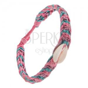 Pletenec z modrých, ružových a fialových šnúrok, ulita