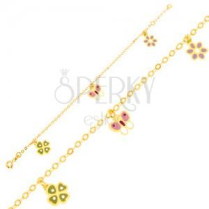Náramok v žltom 9K zlate - štvorlístok, motýľ, kvietok, ligotavá retiazka