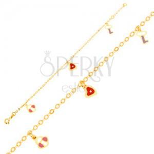 Zlatý náramok 375, glazúrovaná zámka, srdce a kľúčik na lesklej retiazke