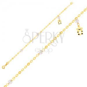 Náramok zo žltého 9K zlata - retiazka, glazúrovaný macík, ligotavé guľôčky