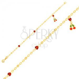 Zlatý náramok 375 - glazúrované čerešne, ligotavé guličky na lesklej retiazke