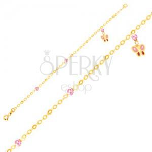 Zlatý náramok 375 na ruku - ružovo-červený motýľ a sklenené guličky, retiazka