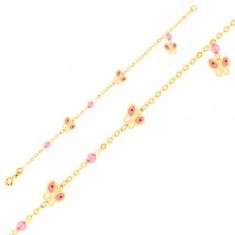 Šperky eshop - Zlatý 9K náramok na ruku - ružovo-biele motýle a sklenené guličky, retiazka GG01.66