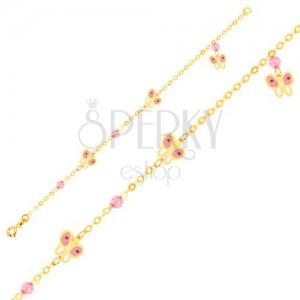 Zlatý 9K náramok na ruku - ružovo-biele motýle a sklenené guličky, retiazka