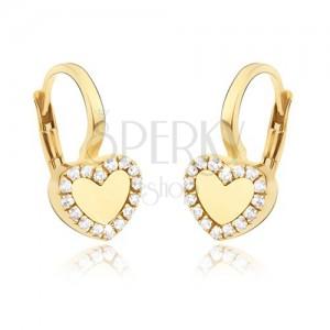 Zlaté náušnice 585 - pravidelné lesklé srdce, zirkónová kontúra
