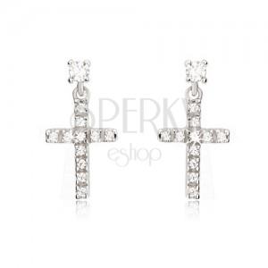 Náušnice z bieleho 14K zlata - malý latinský zirkónový kríž