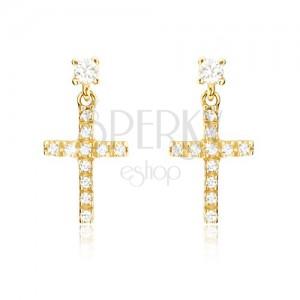 Náušnice zo žltého 14K zlata - malý latinský zirkónový kríž