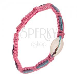 Ružový pletenec s ulitou, fialová, modrá a ružová šnúrka