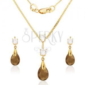 Zlatý set 585 - náušnice a prívesok, vybrúsený slzičkový kameň-záhneda, zirkóny