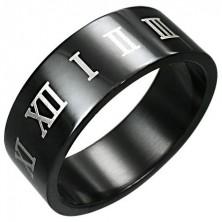 Prsteň z čiernej chirurgickej ocele s hnedými rímskymi číslicami