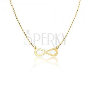 Zlatý 14K náhrdelník - lesklý plochý symbol nekonečna, ligotavá retiazka