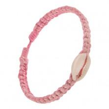 Šnúrkový pletenec ružovej farby, oválna lastúra