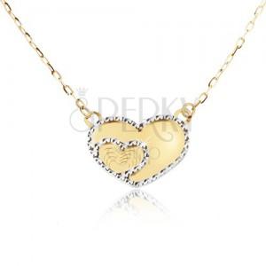 Zlatý náhrdelník 585 - zrkadlovolesklé súmerné srdce, ozdobné gravírovanie