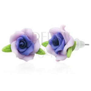 Náušnice z FIMO hmoty - fialový kvet ruže, lístky