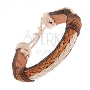 Náramok z kože, biely a svetlohnedý pletenec, hnedé šnúrky