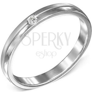 Oceľový prsteň s čírym zirkónom, matný a lesklý pás