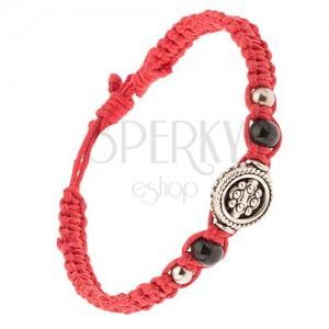 Červený pletenec zo šnúrok, ozdoba s guličkovým vzorom, korálky