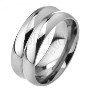 Prsteň z ocele 316L, efekt dvoch obrúčok, 8 mm